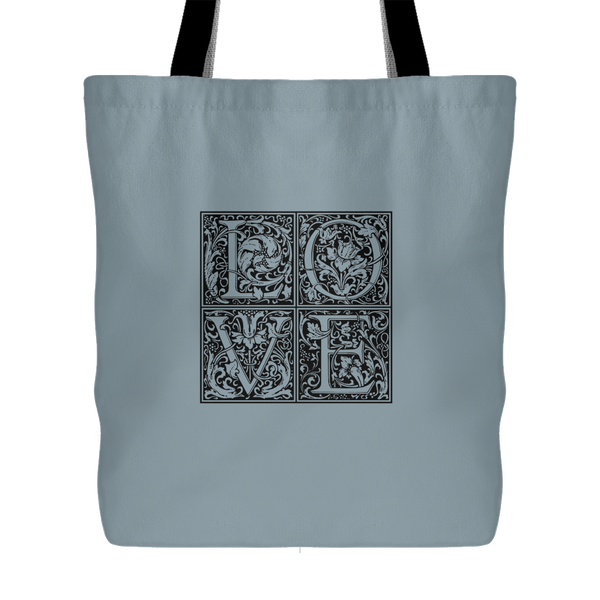 "LOVE cube (vintage blue-gray) - Lined, All-Over Color Poly-Tote, 18"" x 18"", double-sided print-Vintage Blue-Gray LOVE-Boundless Creations"