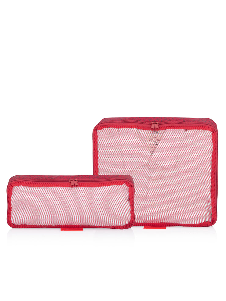 Travel Organizer, Bag in Bag, Pouches, 2er Set, rot, gefüllt