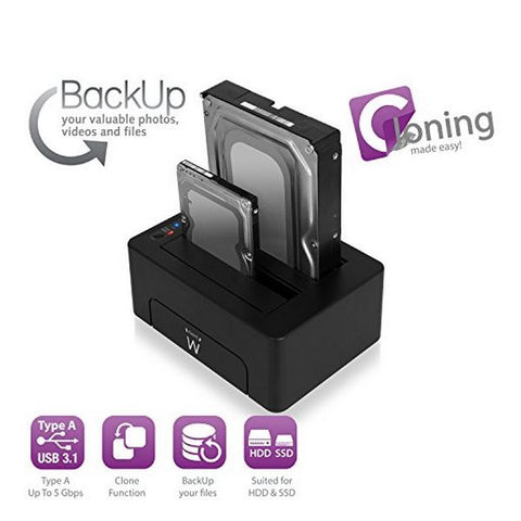 "Dual dock-station Ewent EW7014 Dual 2.5""-3.5"" USB 3.1 ABS Sort"