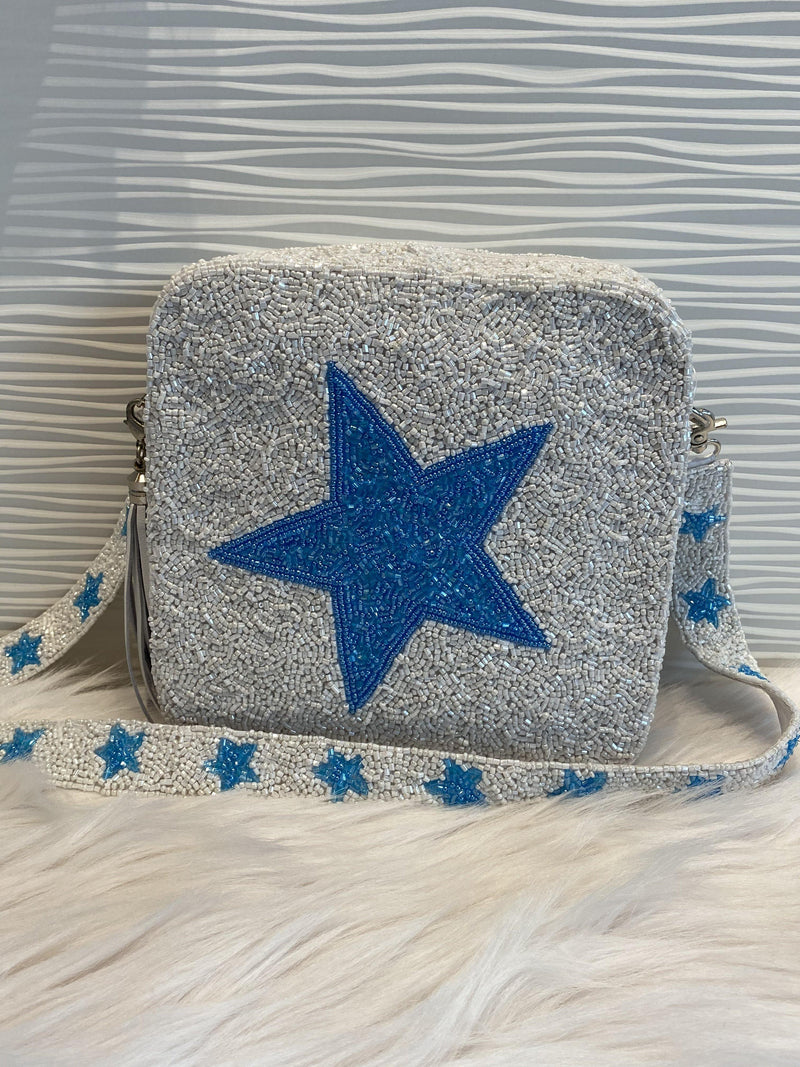 MOYNA 'Square Bag with Blue Stars'