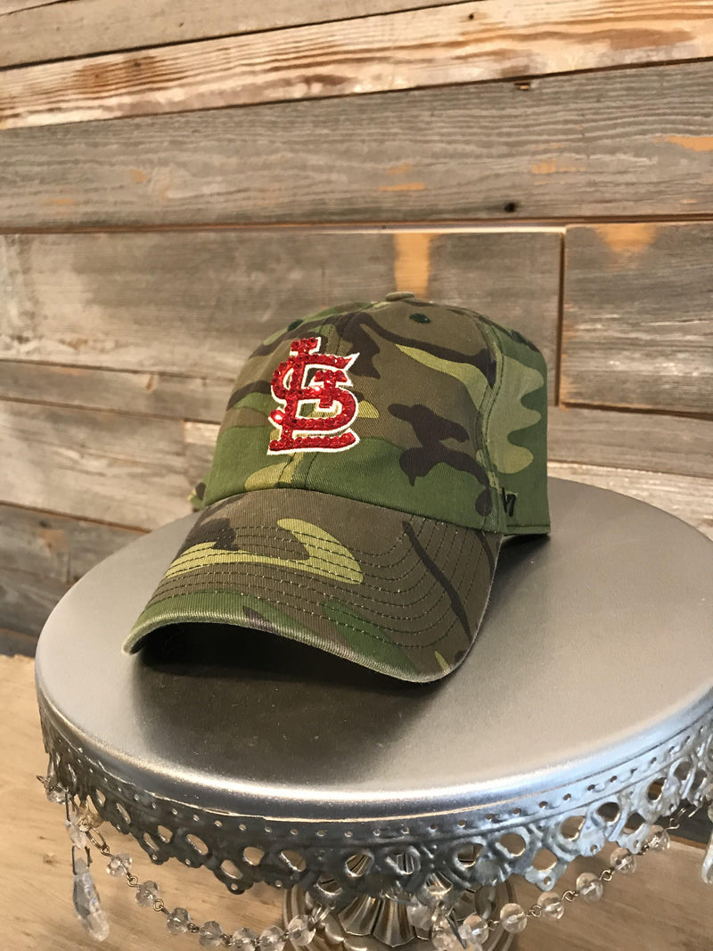 'STL Camo' With Bling Hat- Red Crystals
