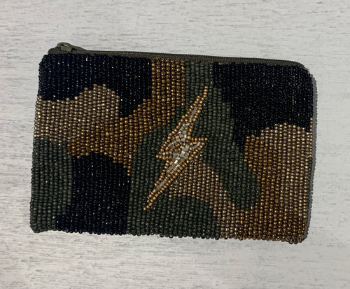 Moyna 'Camo Lightning Bolt Coin' Purse