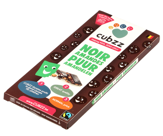 CUBZZ PURE Chocolade met Amandelen (Fairtrade & STOP kinderarbeid) 90g