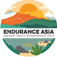 Illustration of mountain landscape with the words endurance asia podcast across the middle