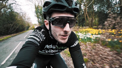 close up of man's face while cycling