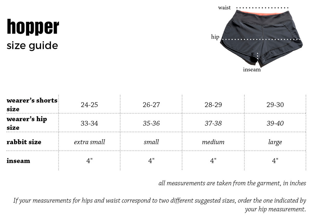 rabbit hopper size chart shorts