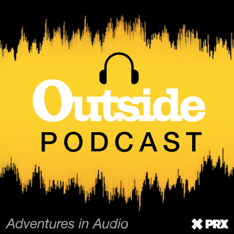 Black and yellow background with outside podcast across the middle