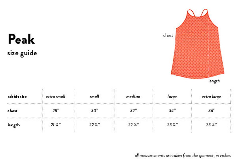 rabbit peak women's tank size chart
