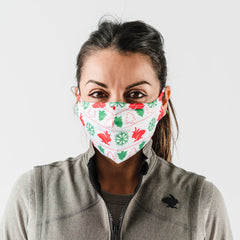 How rabbit brand mask fits on a female in ugly sweater design