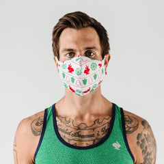 How rabbit brand mask fits on a male in ugly sweater design