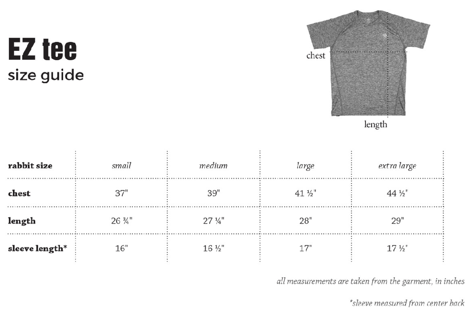 rabbit EZ Tee SS men's size chart