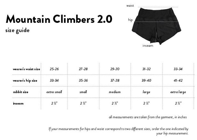 RABBIT MOUNTAIN CLIMBERS 2.0 SIZE CHART SHORTS