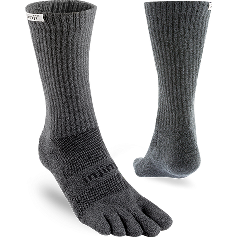 Injinji Trail Midweight Crew Toe Socks - Granite