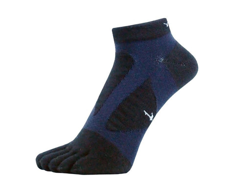 YAMAtune Spider Arch Compression 5 Toe Short Socks with Non-Slip Dots - Black/Navy