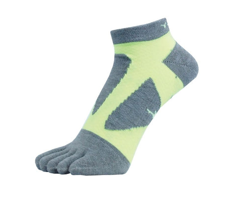 YAMAtune Spider Arch Compression 5 Toe Short Socks with Non-Slip Dots - Grey/Yellow