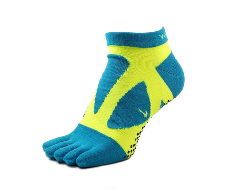 YAMAtune Spider Arch Compression 5 Toe Short Socks with Non-Slip Dots - Turquoise/Yellow