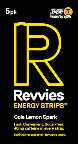 Revvies Energy Strips Cola Lemon Spark 40mg Caffeine - Pack of 5