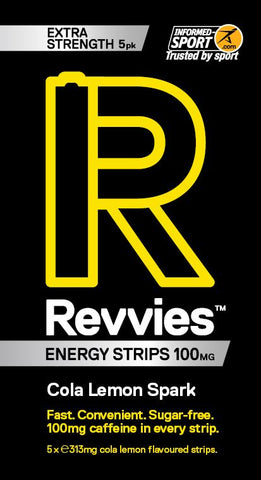 Revvies Energy Strips Cola Lemon Spark 100mg Caffeine Extra Strength - Pack of 5
