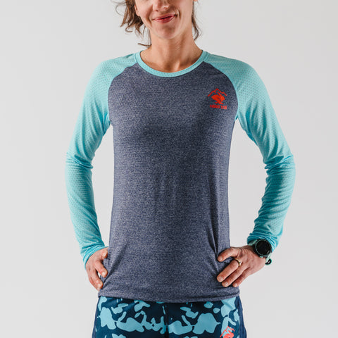 rabbit EZ Tee Perf LS - Bluefish/Dress Blues - Women's
