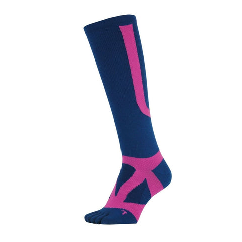 YAMAtune Spider Arch Compression 5 Toe Long Socks with Non-Slip Dots - Indigo/Pink
