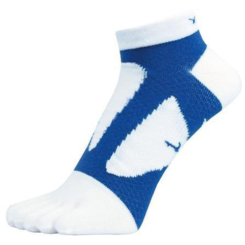 YAMAtune Spider Arch Compression 5 Toe Short Socks with Non-Slip Dots - White/Blue