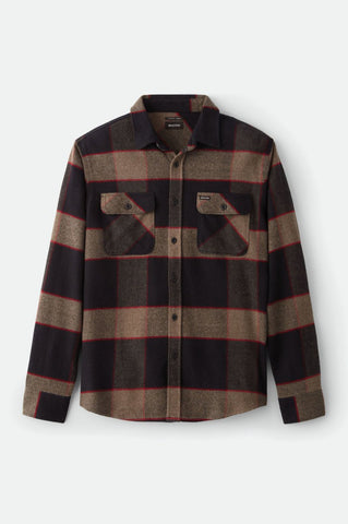 BRIXTON | Bowery Flannel in Heather Grey/ Charcoal