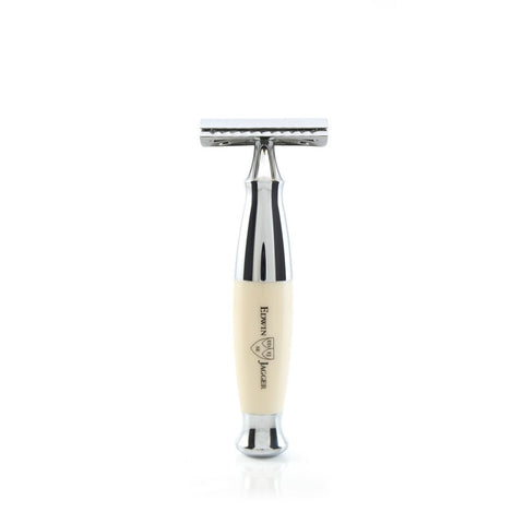 Edwin Jagger | Imitation IVORY Horn and Chrome DE/SAFETY RAZOR in Gift Box