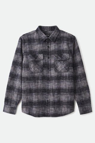 BRIXTON | Bowery Reserve Flannel in Black/ Gray Mix