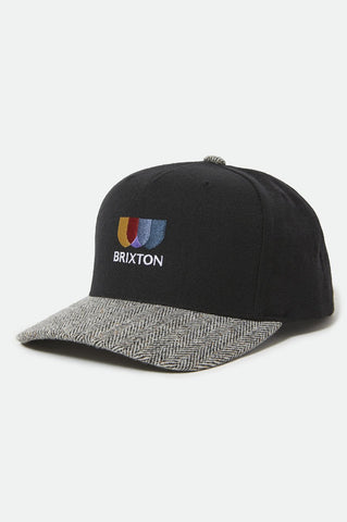 BRIXTON | Alton Embroidered MP Snapback in Black/White Herringbone