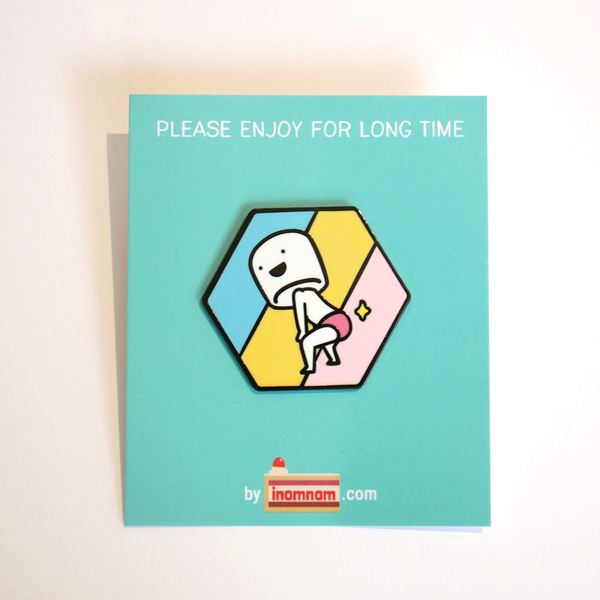 Booty boy marshmallow enamel pin package