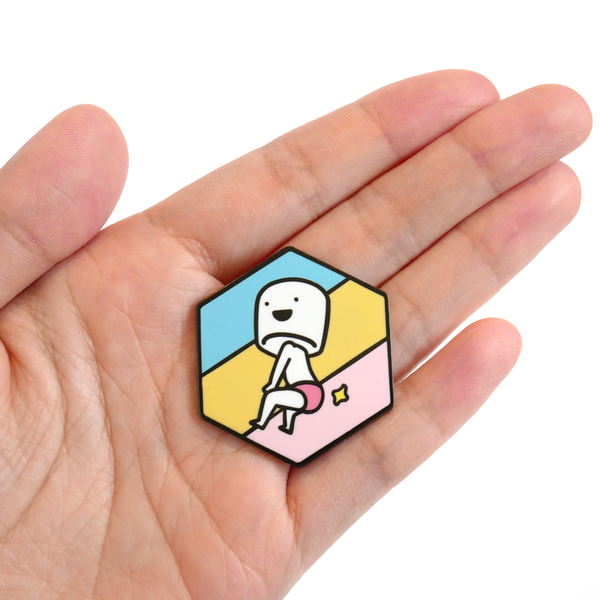 Booty boy marshmallow enamel pin scale