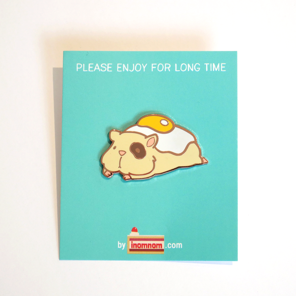 Ham and eggs hamster enamel pin package