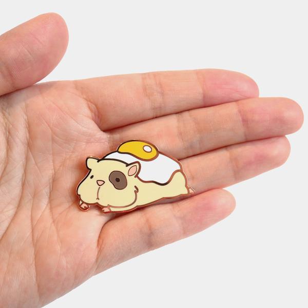 Ham and eggs hamster enamel pin scale