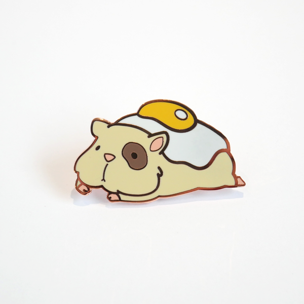 Ham and eggs hamster enamel pin