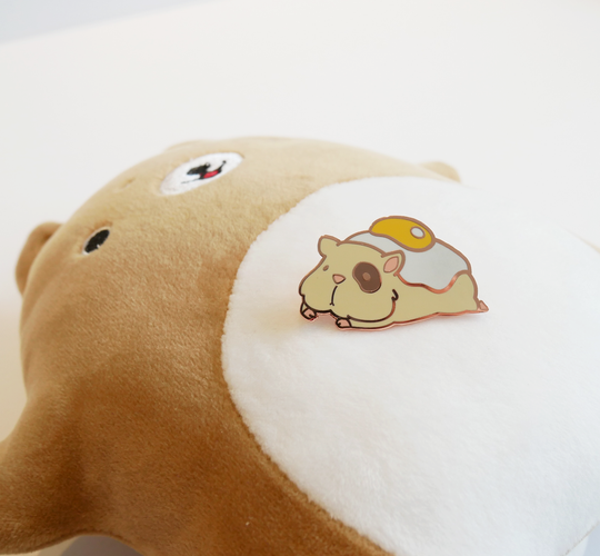 Ham and eggs hamster enamel pin posed