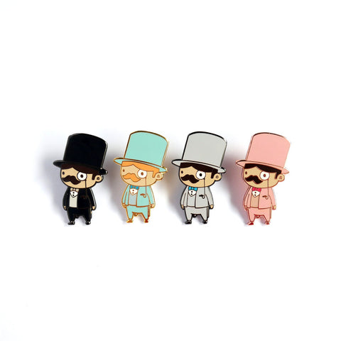 Humphrey Black Blue Grey Pink gentlemen enamel pin