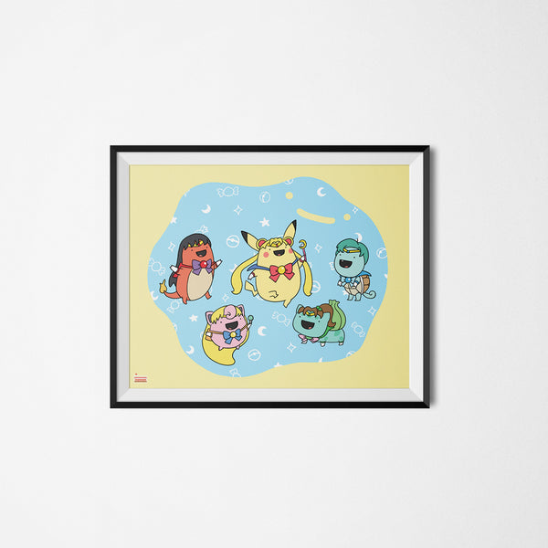 Pokemoon pokemon sailormoon art print framed