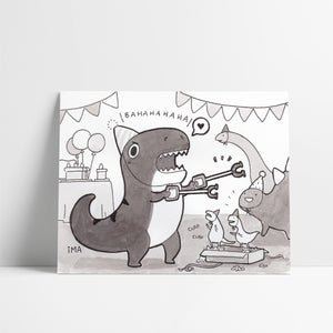 T-Rex Birthday Ink Print