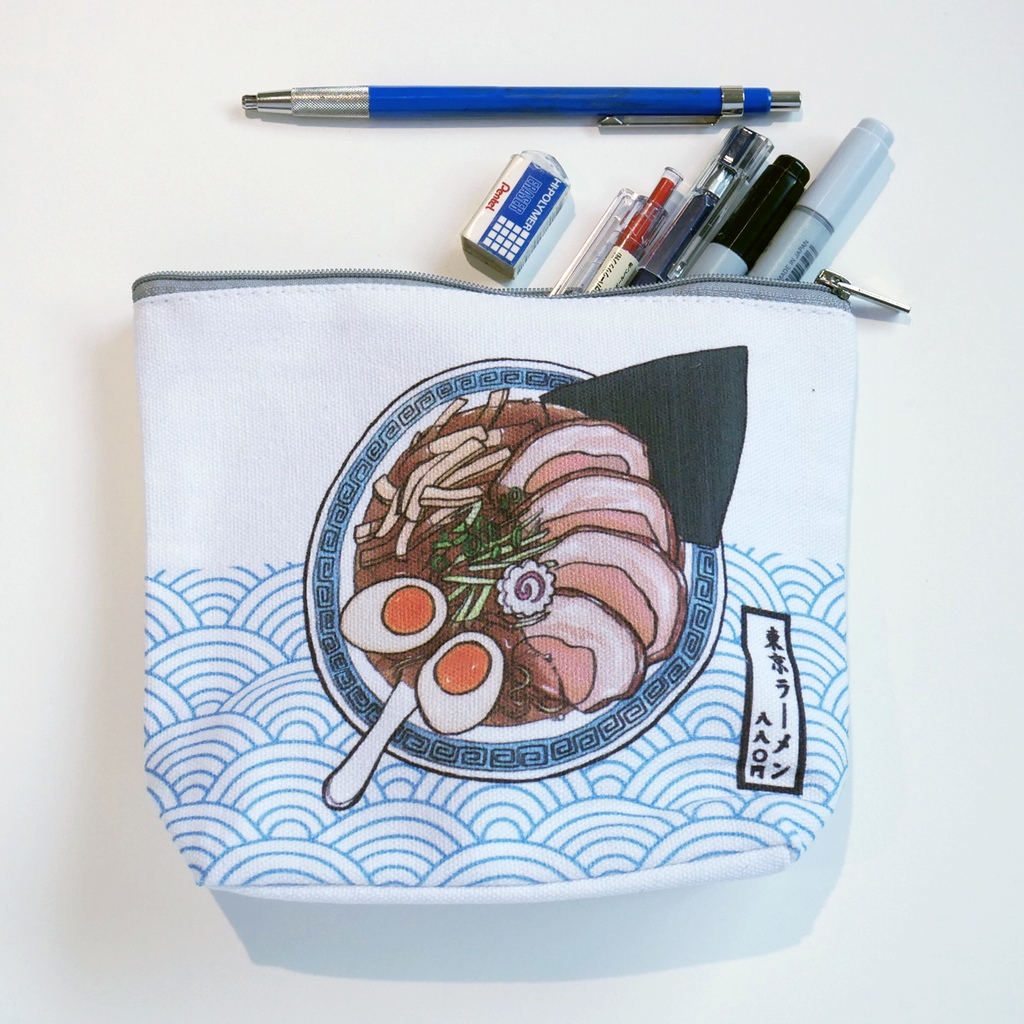 Tokyo ramen accessory canvas pouch stationery