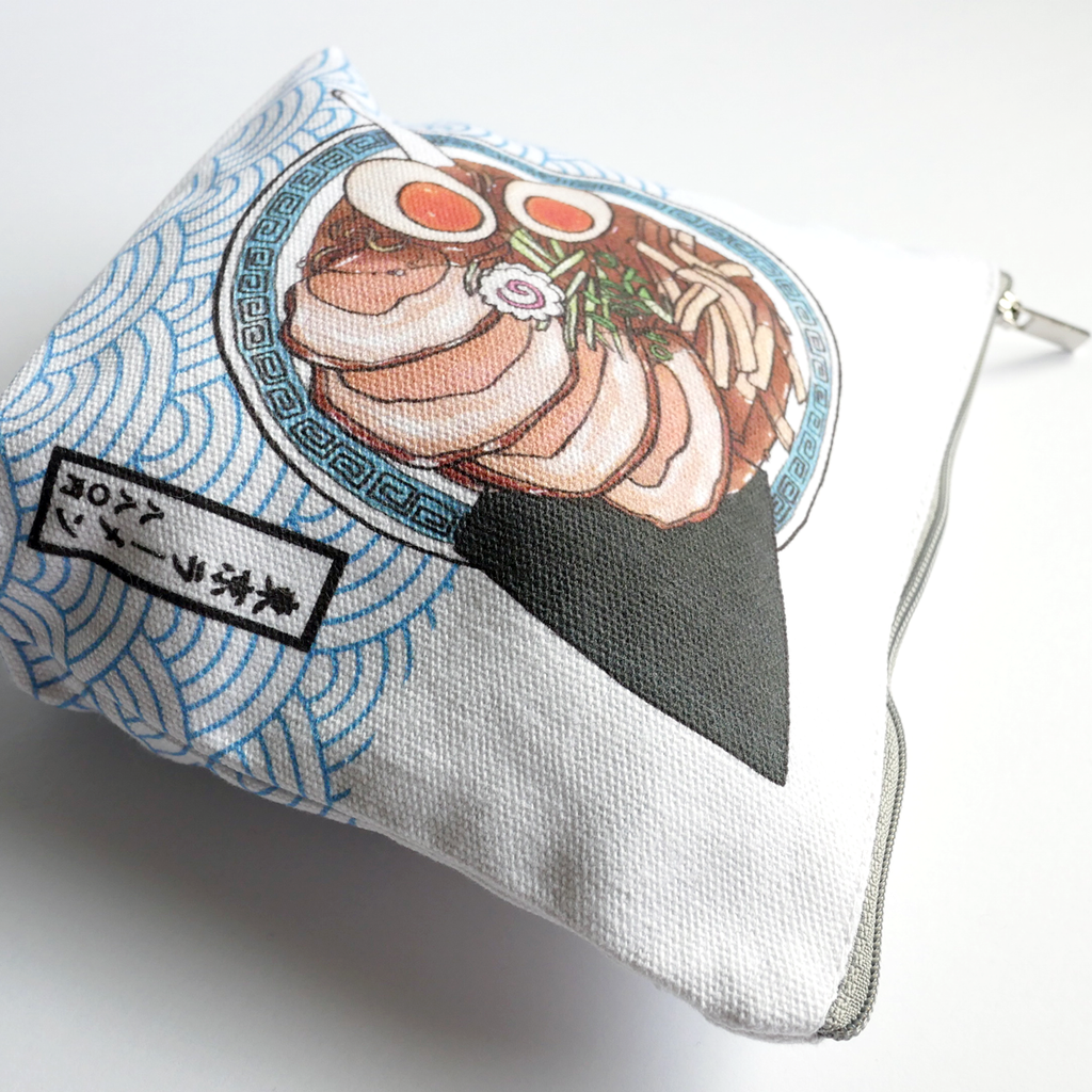 Tokyo ramen accessory canvas pouch close up