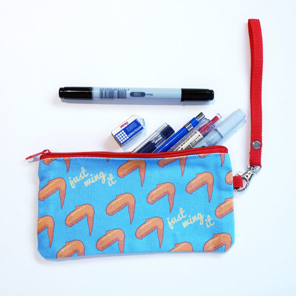 Just Wing It chicken wing canvas pencil case pouch stationery