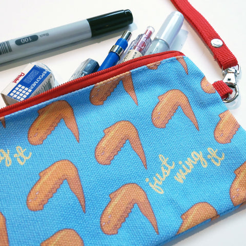 Just Wing It chicken wing canvas pencil case pouch
