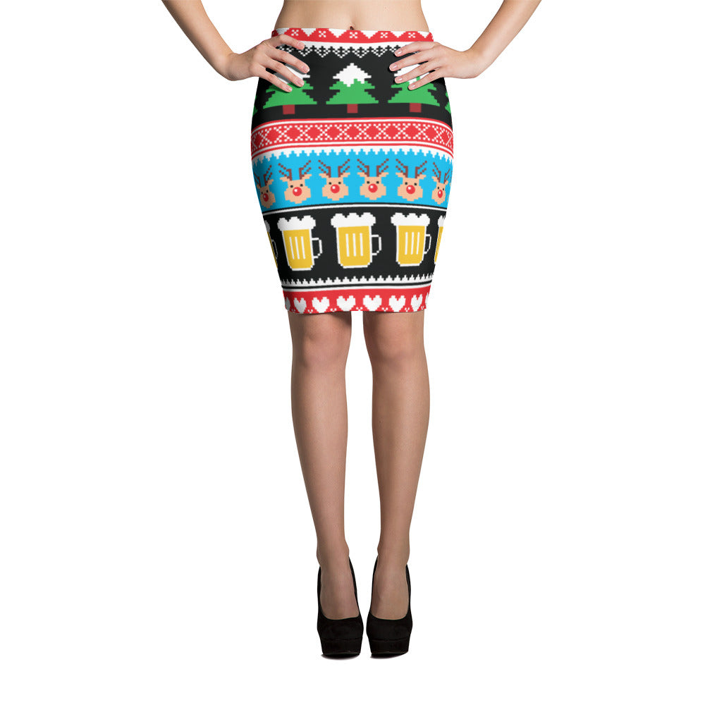Christmas Pints Pencil Skirt