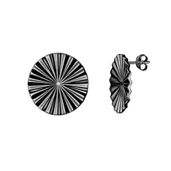 Tessen earrings spheric / black plated silver