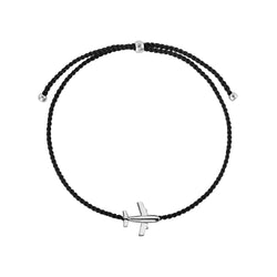 Airplane string bracelet/ silver, black nylon string