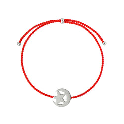 Moon and star string bracelet/ silver, red nylon string