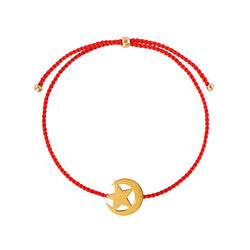 Moon and star string bracelet/ gold plated silver, red nylon string