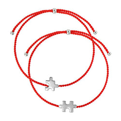 Best match string bracelet set/ silver, red nylon string