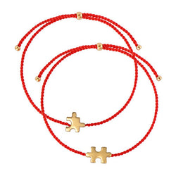 Best match string bracelet set/ gold plated silver, red nylon string