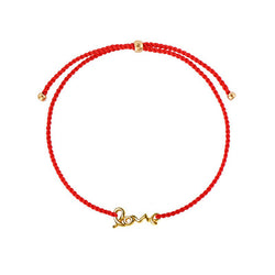 Love string bracelet/ gold plated silver, red nylon string